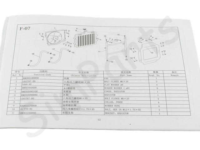 Kinroad 650cc parts list